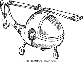 Helicopter Doodle Sketch Vector Illustration Art