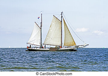 Traditional sailing ships on the IJsselmeer in the...