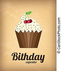 birthday card - happy birthday card with cupcake over brown...
