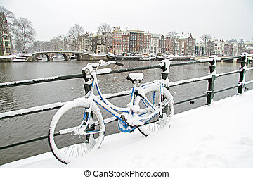 Bicycle in Amsterdam the Netherlands in winter - Bicycle in...