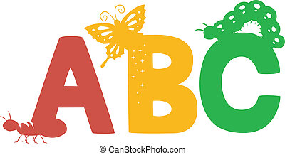 ABC Insects Silhouette - Illustration of Colorful ABC...