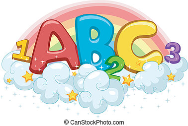 Rainbow ABC and 123 - Illustration of ABC and 123 on Clouds...