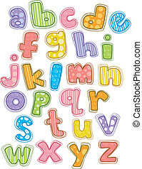 Cute Alphabet Small Letters - Illustration of Cute and...