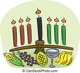 Kwanzaa Elements - Illustration of Kwanzaa Symbols