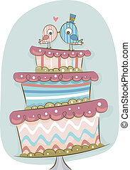 Modern Wedding Cake - Illustration of Modern Wedding Cake in...