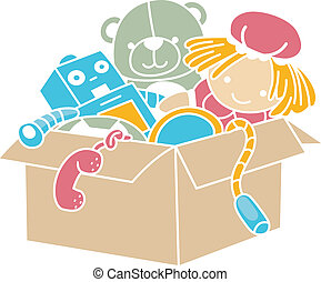 Box of Toys Stencil - Illustration of Box Full of Toys...