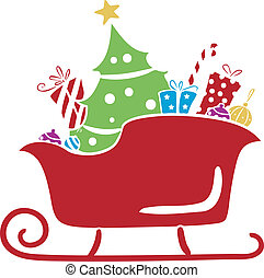 Christmas Santa Sleigh with Gifts Stencil - Illustration of...