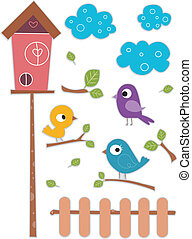 Bird with Birdhouse Sticker Designs - Illustration of Cute...