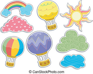 Hot Air Balloons and Clouds Sticker Designs