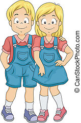 Boy and Girl Twins - Illustration of Little Boy and Girl...