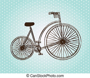 Bicycle - Antique bicycle over blue dotted background vector...