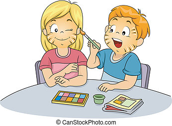 Kids Doing Face Painting - Illustration of Male and Female...