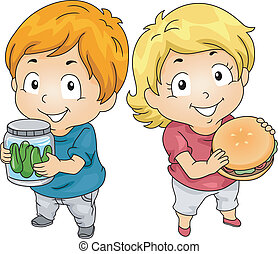 Kids with Jar of Pickles and Hambuger - Illustration of...