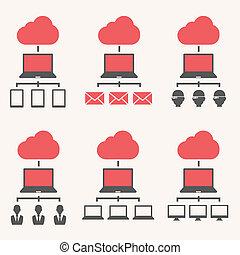 Cloud Service Isolated on Grey Gradient Background. Vector...
