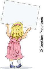 Back View of Little Girl Carrying a Blank Board - Back View...