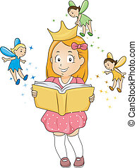 Little Kid Girl reading a Fantasy Book with Fairies