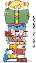 Little Kid Girl Reading a Book Sitting on Pile of Books -...