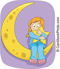 Little Kid Girl on Pajamas Sitting on the Moon -...