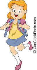 Kid Girl Student  wearing a Backpack