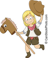 Kid Cowgirl with Toy Horse - Illustration of a Kid Cowgirl...
