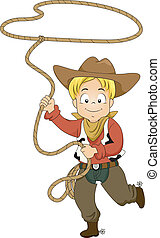 Kid Cowboy with Rope - Illustration of a Kid Boy wearing a...