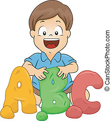 Little Boy Molding ABC Letters from Clay - Illustration of a...