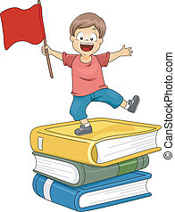Kid Boy Standing on Pile of Big Books waving a Red Flag