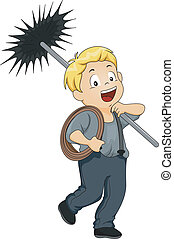 Kid Boy Chimney Sweep - Illustration of a Little Kid Boy...