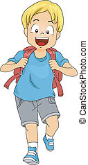 Kid Boy Student with Backpack
