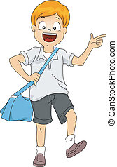 Kid Boy Student with Sling Bag