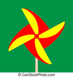 Colorful Paper Windmill - vector of colorful origami...