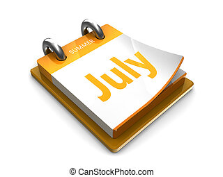 calendar date is july - july at the tear-off calendar on a...
