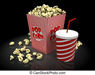 popcorn and soda - box with popcorn and a cup with soda over...