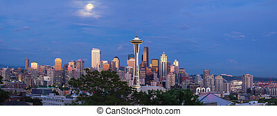 Full Moon Over Seattle Washington Skyline Panorama - Full...