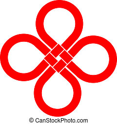 Cloverleaf knot good luck symbol - Cloverleaf knot isolated...