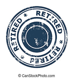 Retired concept stamp concept stamp isolated on a white...
