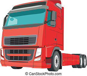 Truck - Red truck on white background