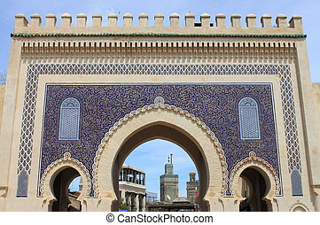Bab Bou Jeloud gate in Fez - Bab Bou Jeloud gate (The Blue...