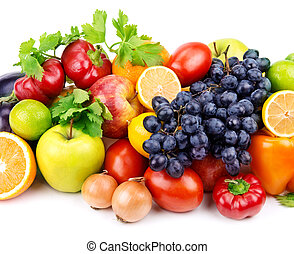 set of different fruits and vegetables