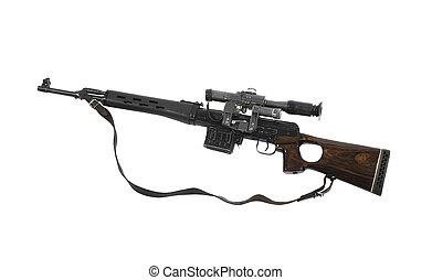 hunting carbine - big hunting carbine on white background