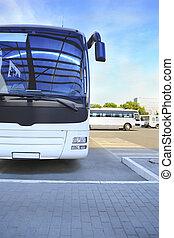 tourist bus on bus station - big white tourist bus on bus...
