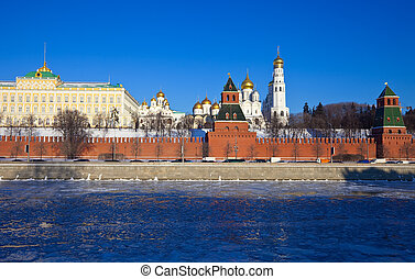 Moscow Kremlin in winter - View of Moscow Kremlin in winter...