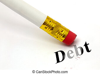 concept of erasing debt, with a white pencil to allow...