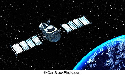 man-made satellite and the earth