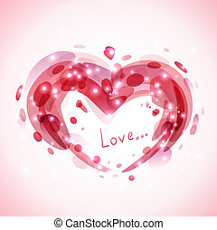 Abstract romantic background with heart and lights. Vector...