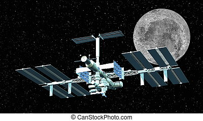 space station and the moon