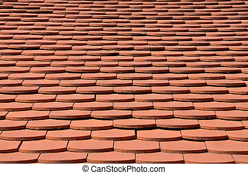 Surface of the red tile roof, background
