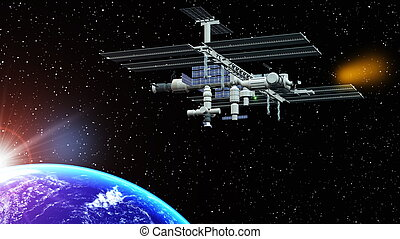 space station and the earth