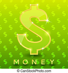 Green dollar sign on pattern background