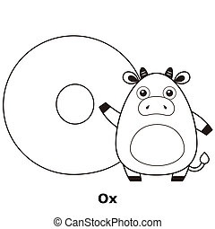 Coloring Alphabet for Kids, O with ox.
